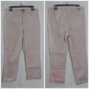 NYDJ Dusty Pink Marilyn Straight Crop Cuff Sz 12